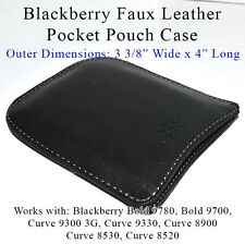 Blackberry Faux Black Leather Pocket Sleeve Pouch Case- Curve & Bold Models- NEW