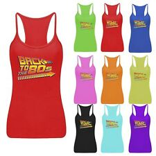 Back To The 80s RacerBack Vest Ladies Printed Strappy Dance Lycra Top Lot