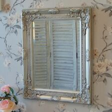 Large Vintage Ornate Silver Wall Mirror Bevelled Glass 52cm X 42cm Antique Style