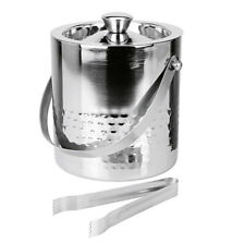 Large Double Walled Hammered Stainless Steel Insulated Ice Bucket With Tongs Lid