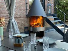 Gartenkamin,Grillkamin,Grill,Feuerstelle,360°Glastür,Edelstahl V2A,Mobil,Luxus