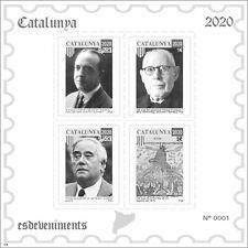 2 Hojitas sellos pruebas en negro Cataluña 2020 Catalunya stamps Catalonia