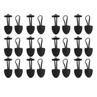 12 Pairs Horn PU Leather Toggle Button Coat Jacket Duffle Black DIY Sewing