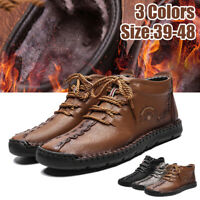 Men Casual Ankle Snow Boots Winter Warm Fur-Lined Lace Up Business Leather Shoes