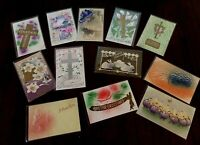 Lot of 12 Vintage ~AIRBRUSHED~Embossed ~Antique~EASTER~Postcards-g291