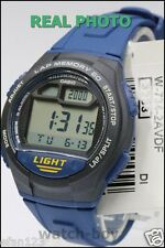 W-734-2A Blue 60 Lap memory Casio Watches Resin Band Stopwatch Sport New