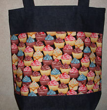 NEW Handmade Large Fancy Decorated  Packed Cupcake Snacks Theme Denim Tote Bag