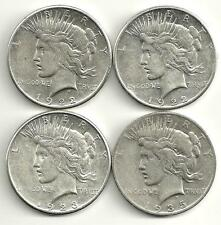 4 Coin Lot__Peace Silver Dollars__1922-S_1923-S_1935-S___#1127LB29