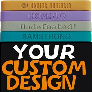 CUSTOM SILICONE WRISTBANDS PERSONALIZED RUBBER BRACELET CUSTOMIZED TEXT & COLOR