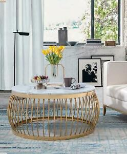 Round Designer Stone Couch Stainless Steel Sofa Table Living Metal