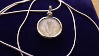 "1928 Irish Rabbit & Harp Pendant Antique on a 18"" .925 Silver Snake Chain"