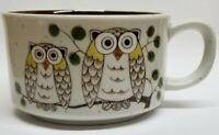 Otagiri Japan OWLS Soup Cereal Bowl Mug w Handle  Speckled Stoneware New Vtg Mod