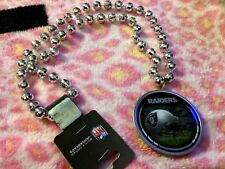 B71 NEW NFL Oakland Raiders Mardi Gras Beads With Medallion Necklace FREE S/H