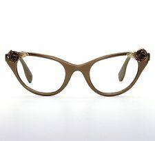 70abb97ded5 TURA VINTAGE 1950s GOLD ROSE CAT EYEGLASSES EXCELLENT ROCKABILLY PIN UP ART  DECO