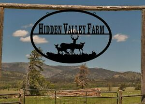 Oval Farm Sign with Deer, Ranch Sign, Large Entrance/Gate, Personalized, S1338