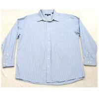 Hathaway Blue White Mens Pocket Man's Dress Shirt Long Sleeve 18.5 36/37 XXL 2XL