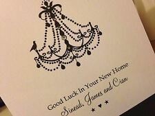 Personalised Handmade Good Luck In Your New Home Card - Chandelier
