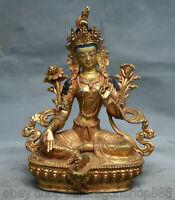 """8.4 """"Vieux Tibet Mahayana Bouddhisme Cuivre 24k Doré Or Vert Tara Déesse Statue"""