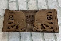 Vintage Ornate Handcarved Wood Bookends Elephants Made India