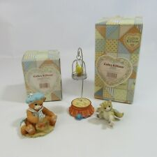 Calico Kittens Lot of 2 Figurines Be Fearless & Fishing For a Friend Enesco Cats