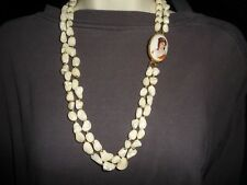 #11/14 vtg costume necklace 2 strands Chunks of MOP w Limoges FRANCE pin CLASP