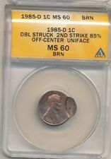 1985-D DBL STRUCK LINCOLN CENT -2ND O/C 85% UNIFACE -ANACS MS60 BRN! -AA368DHXX