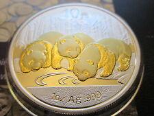 2013 1 Oz Onza Plata Panda Chino Moneda De Oro Dorado 999 Escaso