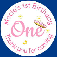 PERSONALISED GLOSSY 1ST BIRTHDAY PINK BIRTHDAY PARTY STICKERS SWEET CONE LABELS