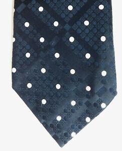 Polka dot kipper tie vintage 1970s St Michael dark navy blue white spot M and S