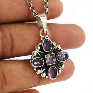 Oval Shape Amethyst Gemstone Jewelry 925 Solid Sterling Silver Pendant U50