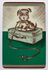 Vintage Swap/Playing Card - CUTE LITTLE DOG ON SUITCASE - GREEN