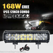 DRL LAMP 12INCH 168W CREE LED LIGHT BAR SPOT FLOOD COMBO MASK 14 PK 5D 72W OSRAM