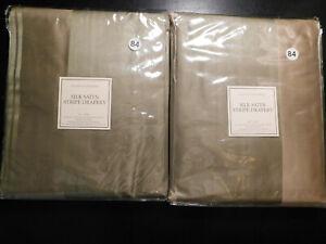 NEW S/2 Restoration Hardware GOLD or SAGE / TAUPE Silk Satin Stripe Drapes 84