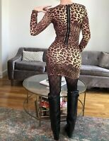 308$ Torn by Ronny Kobo Bodycon Party Mini Dress in Cheetah Leopard Small
