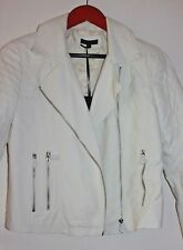 NWT Brave Soul Ivory Faux Leather Moto Jacket Size 12