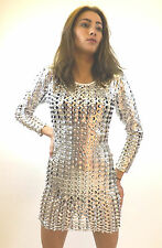 Dress Limited New Ladies Metalic Barbarella Sixties Club Sexy Silver Halloween