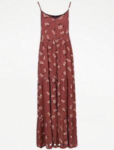 George Bnwt Rust Floral Print Tiered Maxi Dress Size L 16/18