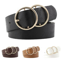 Women Girls Faux Leather Belt Round Ring Metal Double Buckle Waistband New 20*T