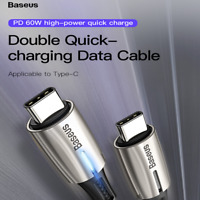 Baseus PD 60W Hi-speed Fast USB Type-C to Type-C 3.1 Charging Cable SYNC Cord