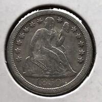 1850 O Seated Liberty Dime 10c Rare Date Better Grade Large O #11772