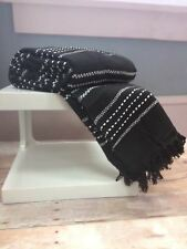 Just Contempo Striped Cotton Throw Black King