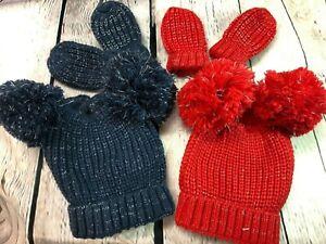 baby babies BOBBLE HAT red navy  boys girls winter hats & Mitt 0-12