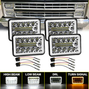 "4PCS 4x6"" LED Headlights Hi-Low DRL For Chevrolet Camaro Chevy C10 C20 Isuzu NQR"