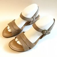 Born Womens Sz 9M Tong Sandals Cognac Beige  Slip On Sling Back Peep Toe Comfort