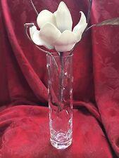 FLAWLESS Exceptional France BACCARAT Art Glass LEAF CUT DESIGN Crystal BUD VASE