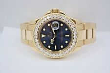 ROLEX YACHTMASTER 40MM 18K YELLOW GOLD DIAMOND ENCRUSTED WATCH BLUE DIAL 16628B