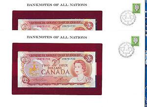 Banknotes of All Nations Canada 2 dollars 1974 UNC P-86a 2 Consecutive Prefix UM