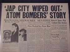 VINTAGE NEWSPAPER HEADLINE~WORLD WAR ATOMIC BOMB DROPED JAPAN JAPANESE CITY WWII
