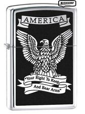 RIGHT TO KEEP & BEAR ARMS  BALD EAGLE  ZIPPO LIGHTER  POLISH CHROME - NEW IN BOX
