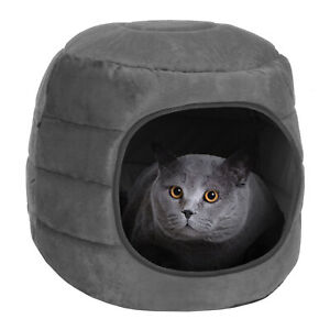 2 in 1 Cat Cave and Bed Grey Pet Kitten Puppy Soft Tent House Shelter Small Dog